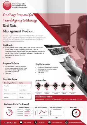 One Page Proposal For Travel Agency To Manage Real Data Management Problem Report Infographic PPT PDF Document