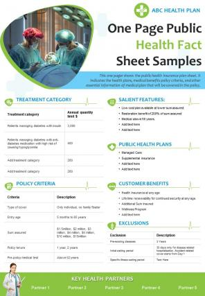 One Page Public Health Fact Sheet Samples Presentation Report Infographic PPT PDF Document