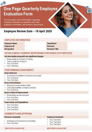 One Page Quarterly Employee Evaluation Form Presentation Report PPT PDF Document