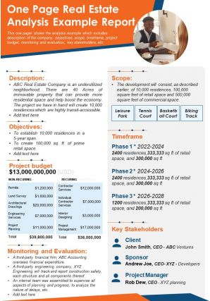 One Page Real Estate Analysis Example Report Presentation Report Infographic PPT PDF Document