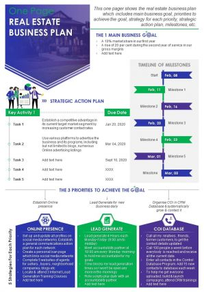 One Page Real Estate Business Plan Presentation Report Infographic PPT PDF Document