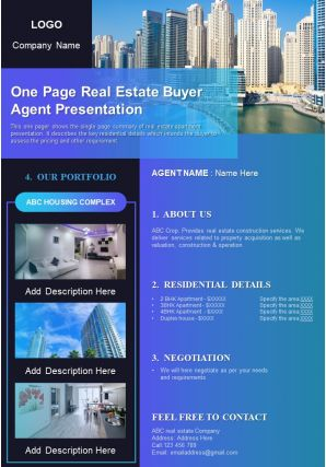 One Page Real Estate Buyer Agent Presentation Report Infographic PPT PDF Document