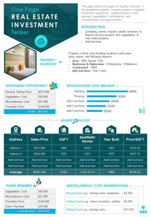 One Page Real Estate Investment Teaser Presentation Report Infographic PPT PDF Document