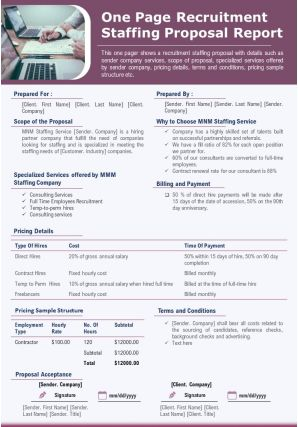 One Page Recruitment Staffing Proposal Report Presentation Report Infographic PPT PDF Document