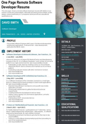 One Page Remote Software Developer Resume Presentation Report Infographic PPT PDF Document