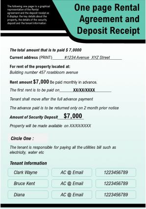 One Page Rental Agreement And Deposit Receipt Presentation Report Infographic PPT PDF Document
