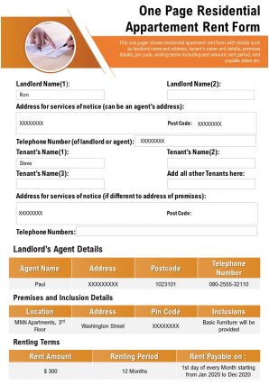 One Page Residential Appartement Rent Form Presentation Report Infographic PPT PDF Document