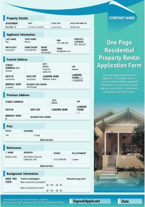 One Page Residential Property Rental Application Form Presentation Report Infographic PPT PDF Document