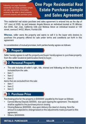 One Page Residential Real Estate Purchase Sample And Sales Agreement Report Infographic PPT PDF Document