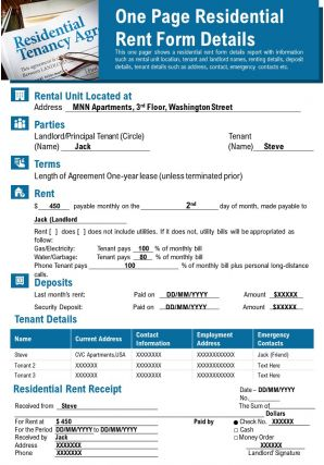 One Page Residential Rent Form Details Presentation Report Infographic PPT PDF Document