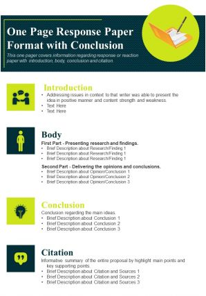 One Page Response Paper Format With Conclusion Presentation Report Infographic PPT PDF Document