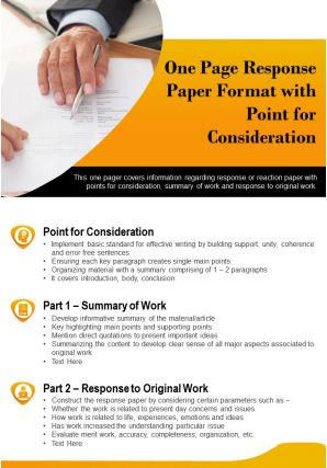 One Page Response Paper Format With Point For Consideration Presentation Report Infographic PPT PDF Document