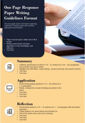 One Page Response Paper Writing Guidelines Format Presentation Report Infographic PPT PDF Document