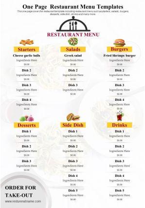 One Page Restaurant Menu Templates Presentation Report Infographic PPT PDF Document