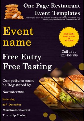 One Page Restaurant Event Templates Presentation Report Infographic PPT PDF Document