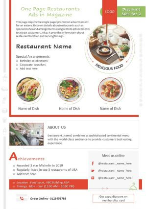 One Page Restaurants Ads In Magazine Presentation Report Infographic PPT PDF Document
