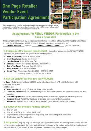 One Page Retailer Vendor Event Participation Agreement Presentation Report Infographic PPT PDF Document