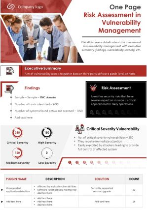 One Page Risk Assessment In Vulnerability Management Presentation Report Infographic PPT PDF Document