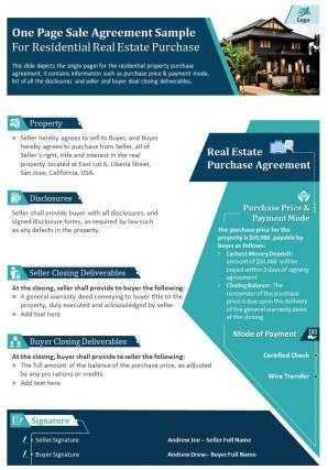 One Page Sale Agreement Sample For Residential Real Estate Purchase Report Infographic PPT PDF Document