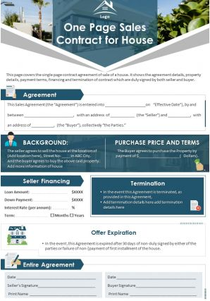 One Page Sales Contract For House Presentation Report Infographic PPT PDF Document