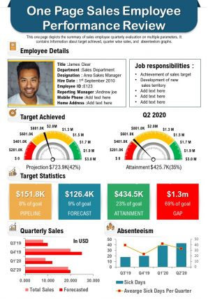 One Page Sales Employee Performance Review Presentation Report Infographic PPT PDF Document