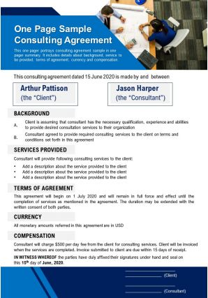 One Page Sample Consulting Agreement Presentation Report Infographic PPT PDF Document