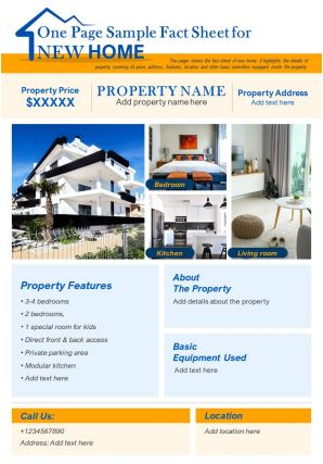 One Page Sample Fact Sheet For New Home Presentation Report Infographic PPT PDF Document