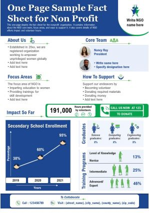 One Page Sample Fact Sheet For Non Profit Presentation Report Infographic PPT PDF Document