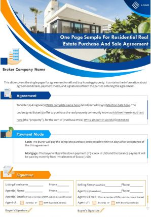 One Page Sample For Residential Real Estate Purchase And Sale Agreement Report Infographic PPT PDF Document