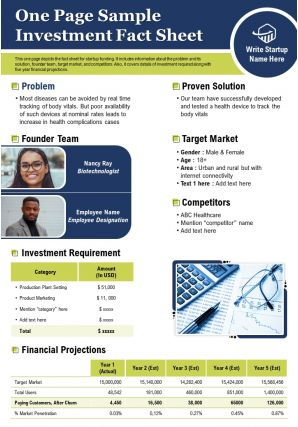 One Page Sample Investment Fact Sheet Presentation Report Infographic PPT PDF Document