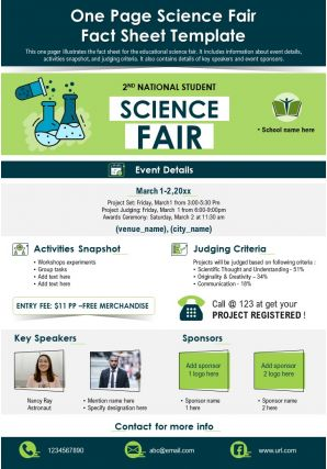 One Page Science Fair Fact Sheet Template Presentation Report PPT PDF Document