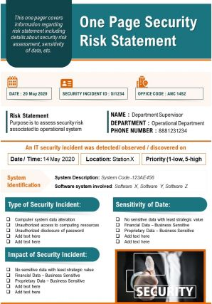 One Page Security Risk Statement Presentation Report Infographic PPT PDF Document