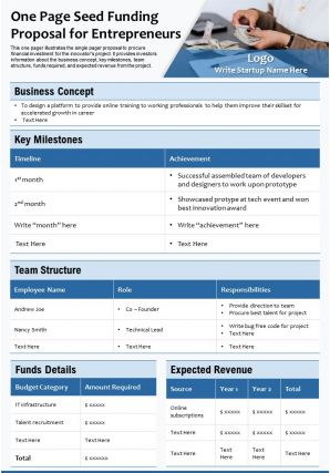 One Page Seed Funding Proposal For Entrepreneurs Presentation Report Infographic PPT PDF Document