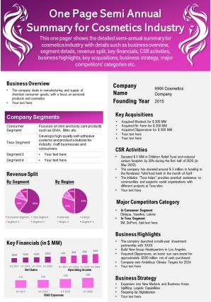One Page Semi Annual Summary For Cosmetics Industry Presentation Report Infographic PPT PDF Document