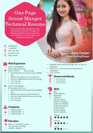 One Page Senior Manger Technical Resume Presentation Report Infographic PPT PDF Document
