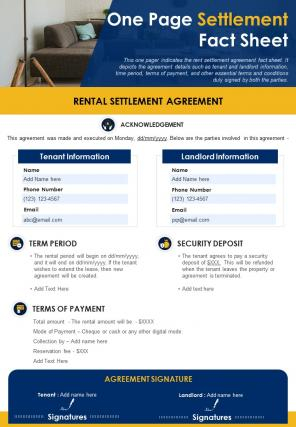 One Page Settlement Fact Sheet Presentation Report Infographic PPT PDF Document