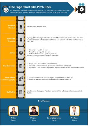 One Page Short Film Pitch Deck Presentation Report Infographic PPT PDF Document