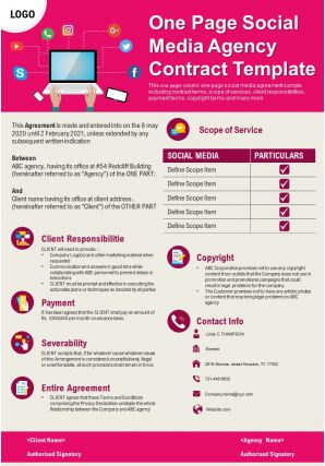 One Page Social Media Agency Contract Template Presentation Report Infographic PPT PDF Document