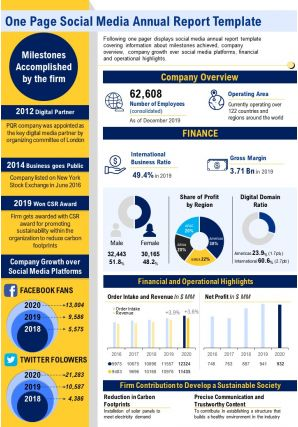 One Page Social Media Annual Report Template Presentation Report Infographic PPT PDF Document