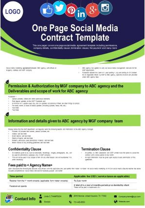 One Page Social Media Contract Template Presentation Report Infographic PPT PDF Document