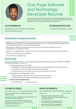 One Page Software And Technology Developer Resume Presentation Report Infographic PPT PDF Document