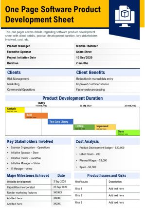 One Page Software Product Development Sheet Presentation Report Infographic PPT PDF Document
