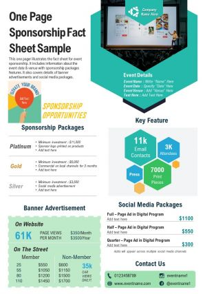 One Page Sponsorship Fact Sheet Sample Presentation Report Infographic PPT PDF Document