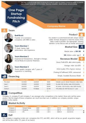One Page Startup Fundraising Pitch Presentation Report Infographic PPT PDF Document