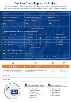 One Page Status Report Of A Project Presentation Report Infographic PPT PDF Document