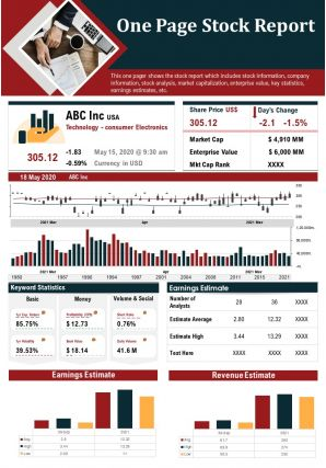 One Page Stock Report Presentation Report Infographic Ppt Pdf Document