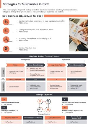 One Page Strategies For Sustainable Growth Presentation Report Infographic PPT PDF Document