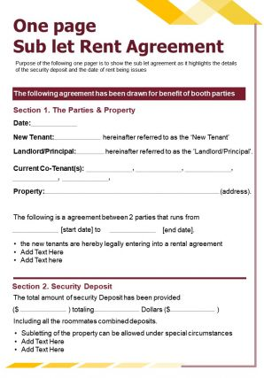 One Page Sub Let Rent Agreement Presentation Report Infographic PPT PDF Document