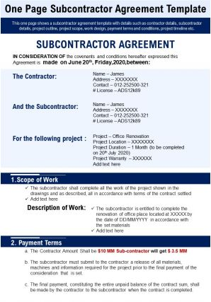 One Page Subcontractor Agreement Template Presentation Report Infographic PPT PDF Document