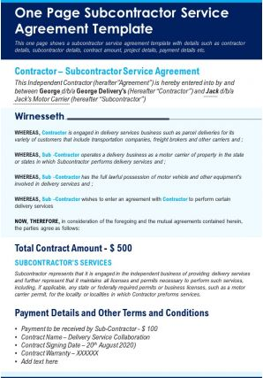 One Page Subcontractor Service Agreement Template Presentation Report Infographic PPT PDF Document